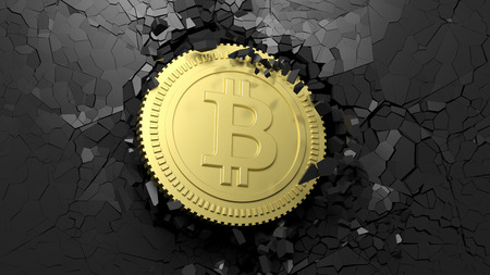 Cryptocurrency breakthrough concept. Bitcoin breaking with great force through a black wall. 3d illustration Stock Photo