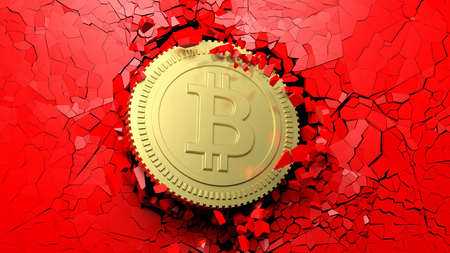 Cryptocurrency breakthrough concept. Bitcoin breaking with great force through a red wall. 3d illustration Stock Photo