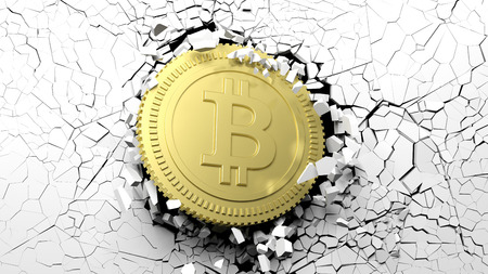 Cryptocurrency breakthrough concept. Bitcoin breaking with great force through a white wall. 3d illustration Stock Photo