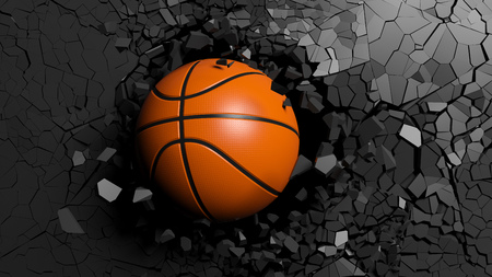 Sports concept. Basketball ball breaking with great force through a black wall. 3d illustration.