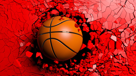 Sports concept. Basketball ball breaking with great force through a red wall. 3d illustration. Stock Photo