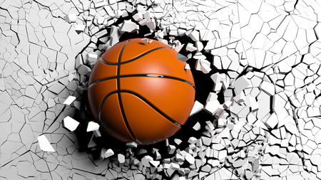 Sports concept. Basketball ball breaking with great force through a white wall. 3d illustration. Stock Photo
