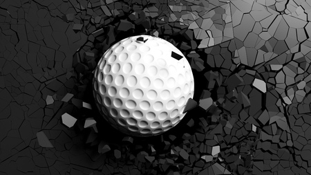 Sports concept. Golf ball breaking with great force through a black wall. 3d illustration.