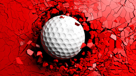 Sports concept. Golf ball breaking with great force through a red wall. 3d illustration. Stock Photo