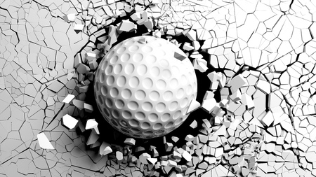 Sports concept. Golf ball breaking with great force through a white wall. 3d illustration. Stock Photo