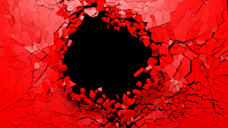 Shattered wall concept. Hole on a broken red wall blank space. 3d illustration 写真素材
