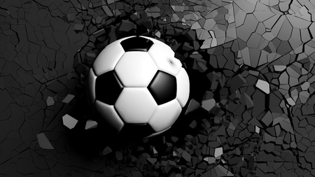 Football concept. Soccer ball breaking with great force through a black wall. 3d illustration.