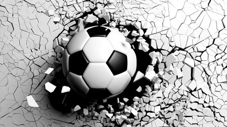 Football concept. Soccer ball breaking with great force through a white wall. 3d illustration.