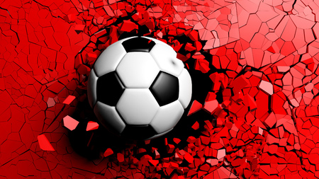 Football concept. Soccer ball breaking with great force through a red wall. 3d illustration.