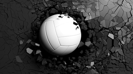 Sports concept. Volleyball ball breaking with great force through a black wall. 3d illustration. Stock Photo
