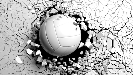 Sports concept. Volleyball ball breaking with great force through a white wall. 3d illustration.