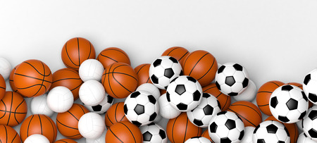 Team sports concept. Basketball, volleyball and soccer balls on a white wall banner with blank space. 3d illustration.