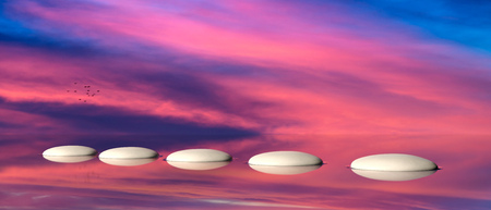 Spa concept. Zen stepping stones on water, sky on sunset background. 3d illustration
