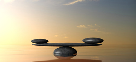 Balance concept. Zen balancing stones on water, sky on sunset background. 3d illustration
