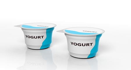 Dairy products. Two yogurts isolated on white background. 3d illustration Stock Photo