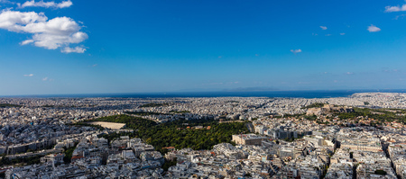 Athens, Greece. Panathinaiko stadium and Athens Acropolis and city aerial view Stock Photo
