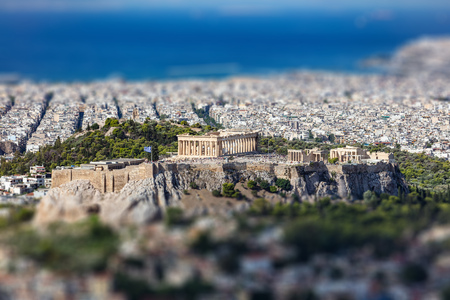 Athens, Greece. Athens Acropolis and city aerial view from Lycabettus hill Stock Photo