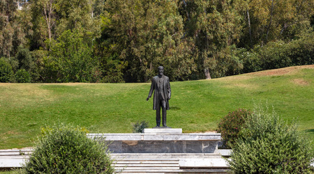 Venizelos Eleftherios. Former Prime Minister s statue at liberty park in Athens, Greece. Nature background.