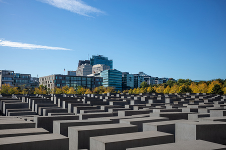 Holocaust Memorial in Berlin, Germany. A way to remember jews and their mass murdered. Grey cubes prove the wars bad results.