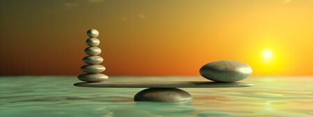 Zen stones row from large to small  in water with blue sky and peaceful landscape
