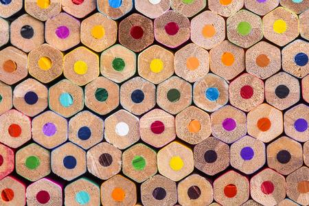 Close up macro shot of color pencils pile
