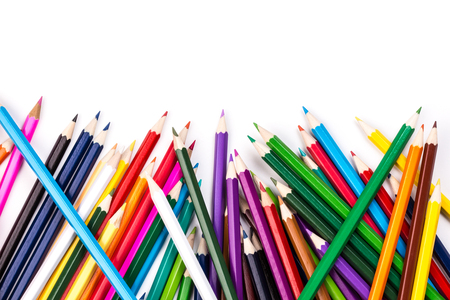 topsyturvy: Color pencils topsy-turvy pile on white background