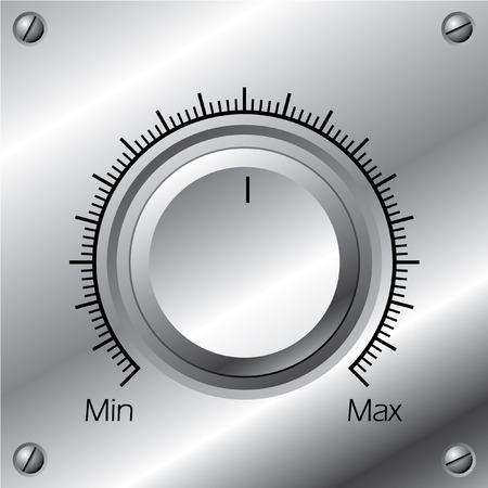 tablero de control: Perilla de volumen con calibraci�n en planchas de acero  Vectores