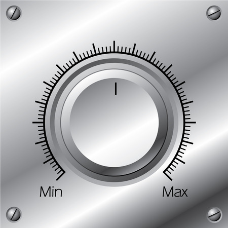 volume knob: Volume knob with calibration on steel plate
