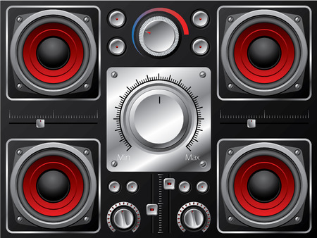 Red speakers with amplifier and knobs  Vector