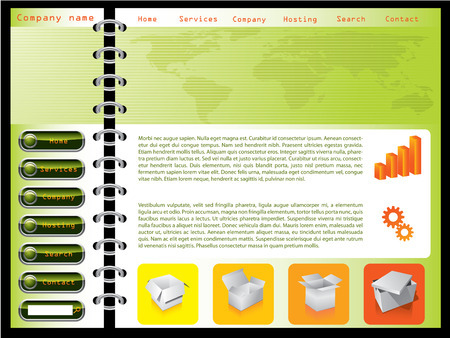combined: Green combinado con plantilla web naranja  Vectores