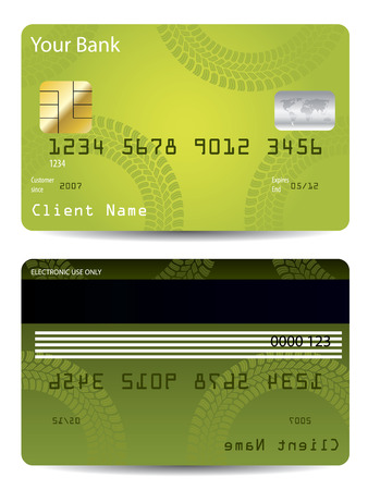 the master: Green credit card design with tire track