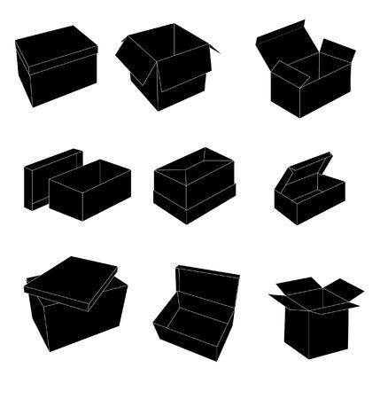 packer:  black and white boxes  Illustration