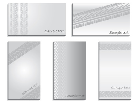 Gray business cards with treads Vector