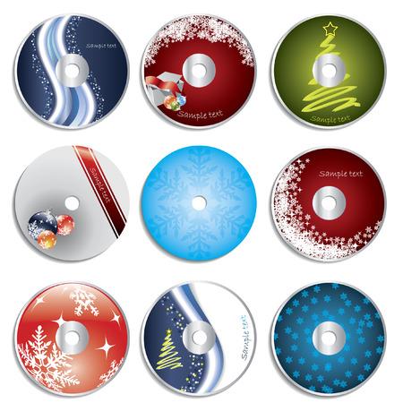 christmas template: Natale etichette cd & dvd