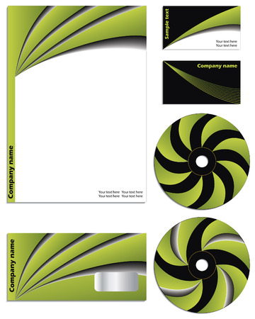 calling art: Green vs black company vector set