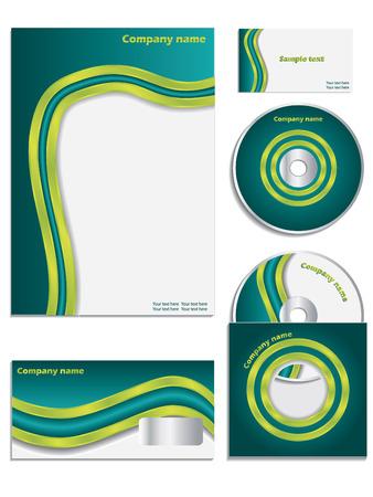 headed: Green wave company vector set Illustration