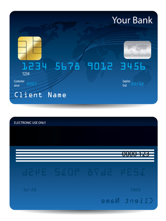 Blue credit card Stock Vector - 6655752