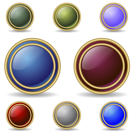 Color buttons with double gold rings Stock Vector - 6688208