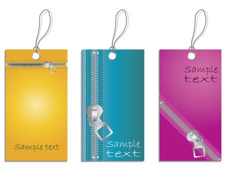 Zippered labels Vector