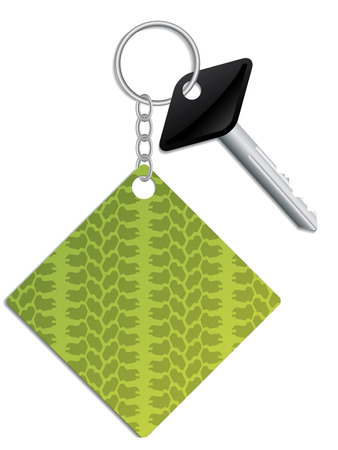 Key and tire track keyholder Vector