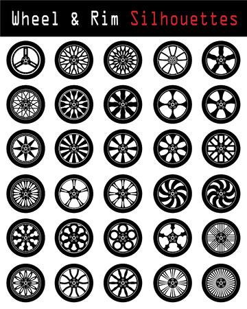 Wheel & Rim silhouettes Vector