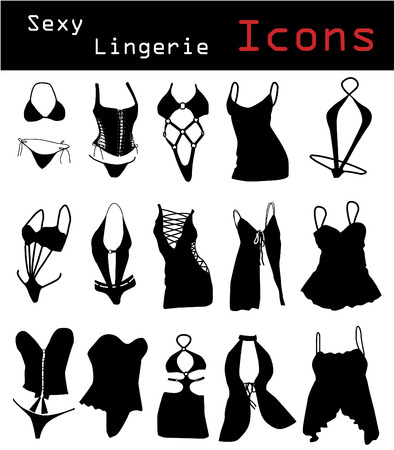Sexy lingerie icons Stock Vector - 6688301