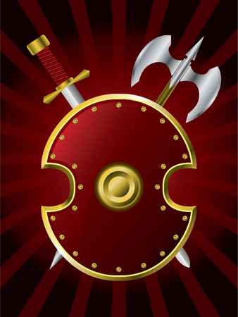 Shield with a sword and axe Vector