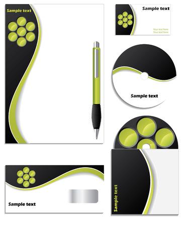 amp: Black &amp, green company set Illustration