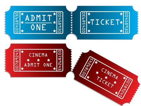 theater seats: Various tickets in red and blue