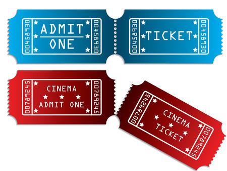 Verschillende tickets in rood en blauw