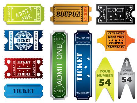 Various ticket set Vector