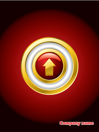 Going up gold trimmed red button Vector