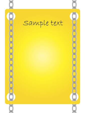 Card hanging on two chains Vector