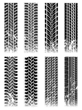car tire: Nieuwe reeks van tire tracks  Stock Illustratie
